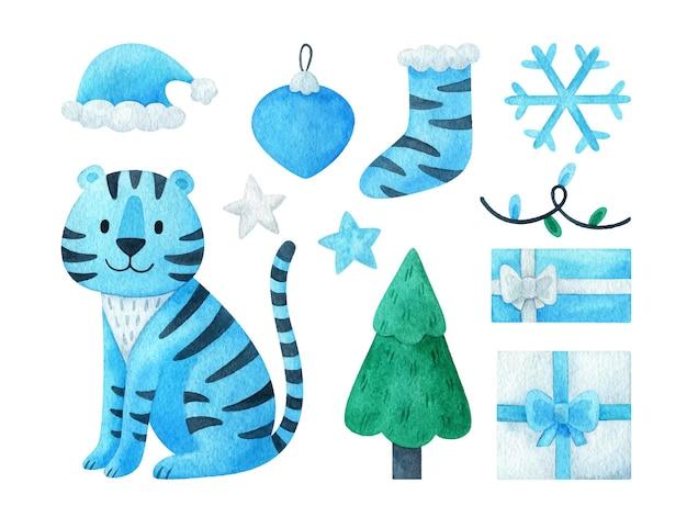 Kerstset van clipart 2022 met een blauwe tijger. nieuwjaarscadeau, slinger, sneeuwvlok, boom, sok