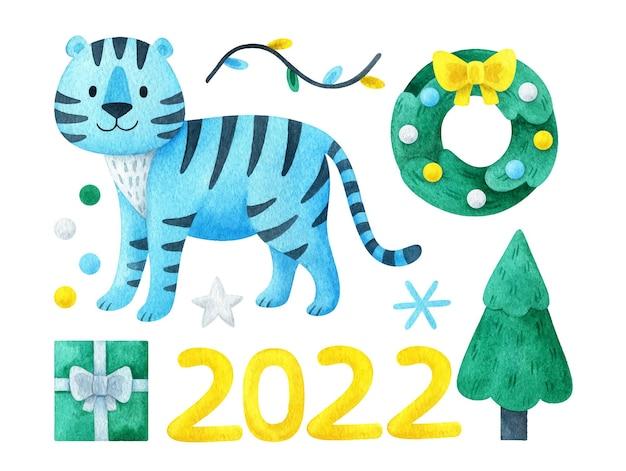 Kerstset van clipart 2022 met een blauwe tijger. tekeningen voor de decoratie van het nieuwe jaar
