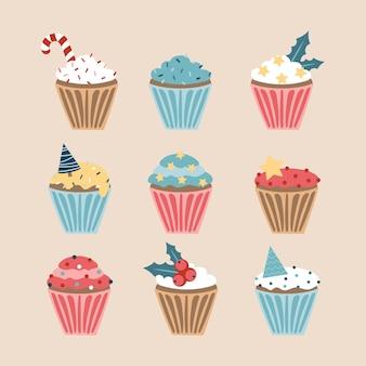 Kerstset van cupcakes en muffins, vectorillustratie