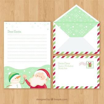 Kerstset van een brief en envelop sjablonen met santa claus en een sneeuwpop