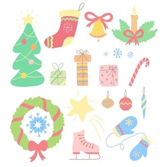 Kerstset van hand getrokken doodles in eenvoudige stijl. vector kleurrijke illustratie met kerst elementen