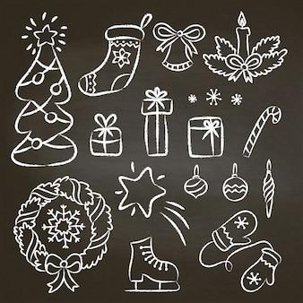 Kerstset van hand getrokken krijt contour doodles