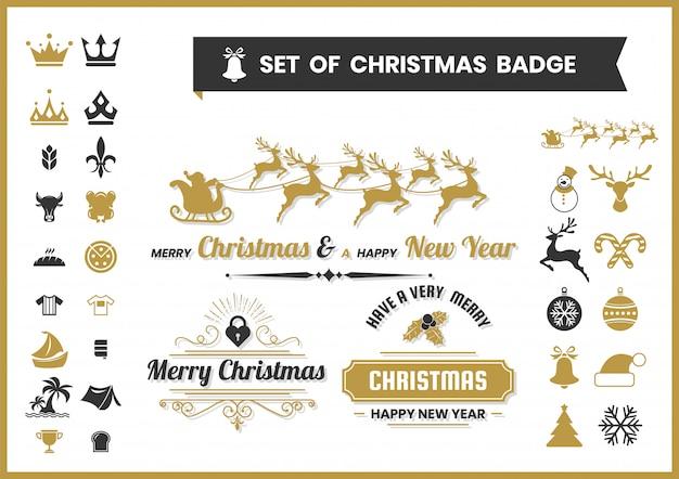 Kerstset van logo's, voedsel badges en pictogrammen