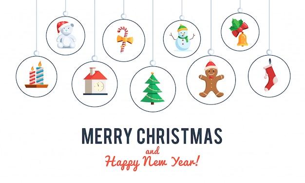 Kerstset van pictogrammen banner