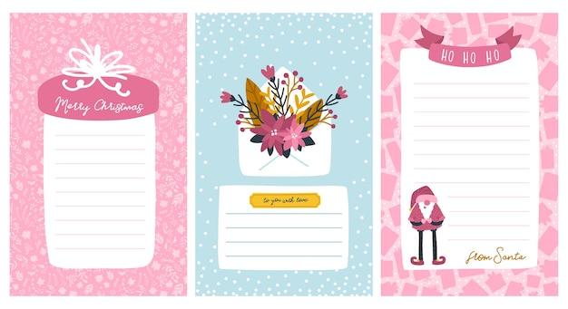 Kerstsjablonen voor lijsten en brieven van de kerstman. frame voor tekst met een liniaal. leuke karakterillustratie