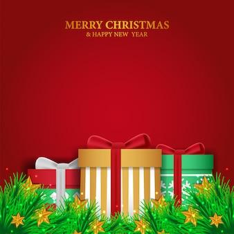 Kerstsjabloon met garland en geschenkdoos