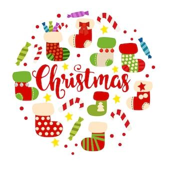 Kerstsjabloon met rode cirkel met sokken