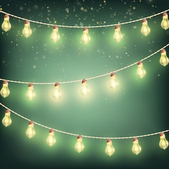 Kerstslinger lichten, vakantie achtergrond.