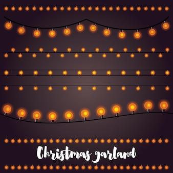 Kerstslingers set geïsoleerd op donkerbruin