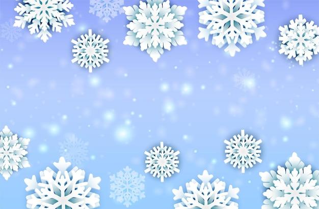 Kerstsneeuwvlokken en lichtkaart decoratieve elementen