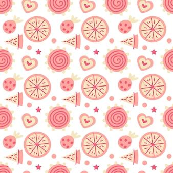 Kerstsnoepjes naadloos patroon met snoepjes en gelei. herfst- en wintervakanties. behang, print, verpakking, papier, textieldesign. een van 20