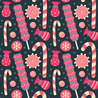 Kerstsnoepjes naadloos patroon met snoepjes, snoepgoed en lolly, dragee, gelei, chocoladekoekjes. herfst- en wintervakanties. behang, print, verpakking, papier, textieldesign. een van 20