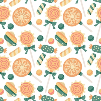 Kerstsnoepjes naadloos patroon met snoepjes, snoepgoed en lolly, marshmallow, dragee, gelei. herfst- en wintervakanties. behang, print, verpakking, papier, textieldesign. een van 20