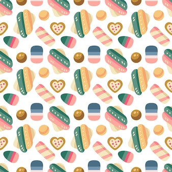 Kerstsnoepjes naadloos patroon met snoepjes, snoepgoed en marshmallow, dragee, gelei, chocoladekoekjes. herfst- en wintervakanties. behang, print, verpakking, papier, textieldesign. een van 20
