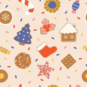 Kerstsnoepjes, snoepjes en koekjes naadloos patroon