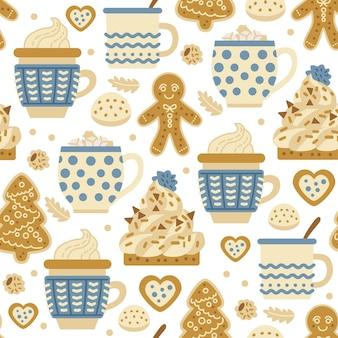 Kerstsnoepjespatroon met bakkerij van peperkoekkoekjes