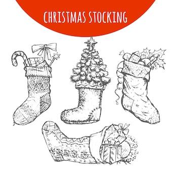 Kerstsok sok decoratie met geschenken schets