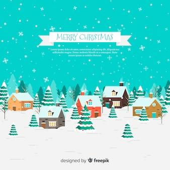 Kerststad achtergrond in vlakke stijl