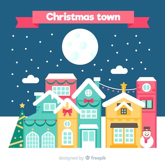 Kerststad achtergrond