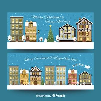 Kerststad banner vlakke gebouwen