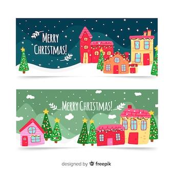 Kerststad banners hand getrokken stijl