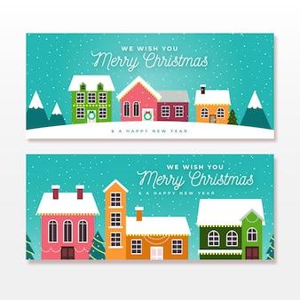 Kerststad banners in plat ontwerp