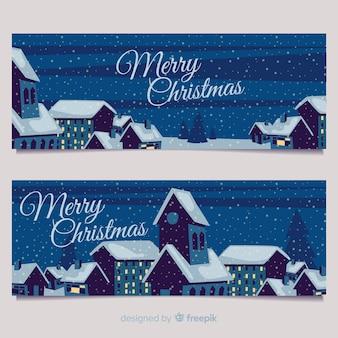 Kerststad banners in vlakke stijl