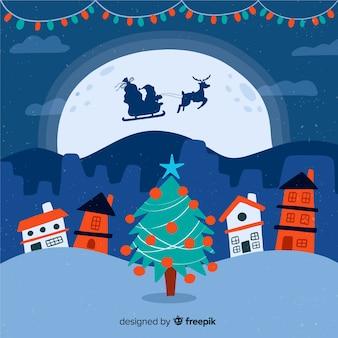 Kerststad in hand getrokken stijl