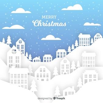 Kerststad in papieren stijl