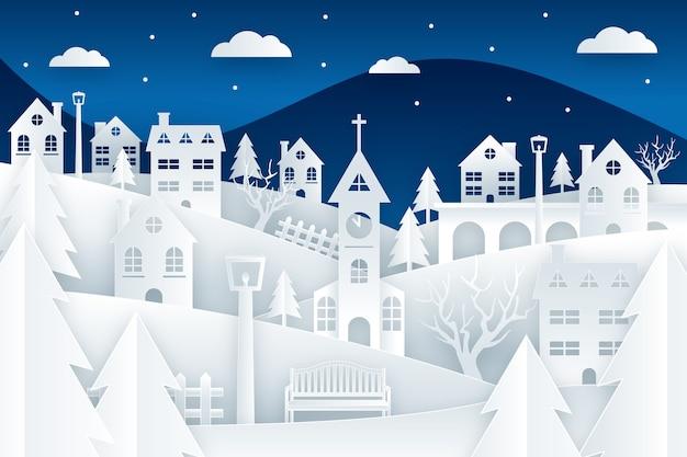 Kerststad in papierstijl behang