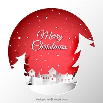 Kerststad papier achtergrond