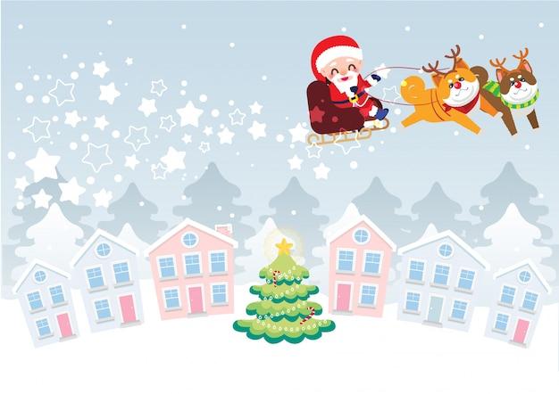 Kerststad viering illustratie