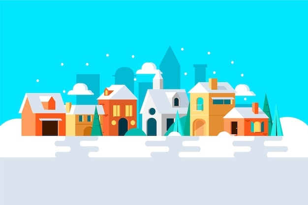Kerststadconcept in plat ontwerp