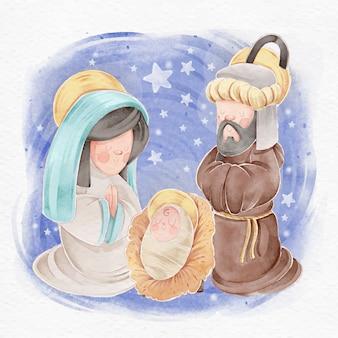 Kerststal concept in aquarel