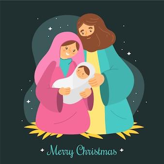 Kerststal concept in de hand getekend
