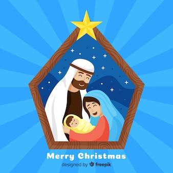 Kerststal en gelukkige familie achtergrond