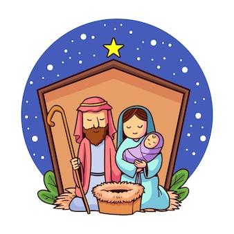 Kerststal hand getekende illustratie
