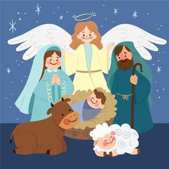 Kerststal illustratie in plat ontwerp