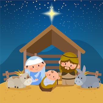 Kerststal illustratie in platte ontwerp