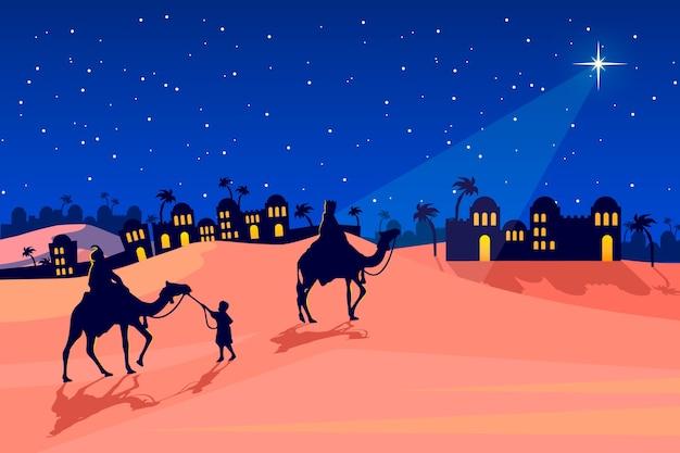 Kerststal illustratie plat ontwerp