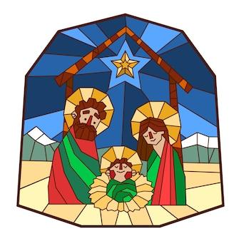 Kerststal in gebrandschilderd glas