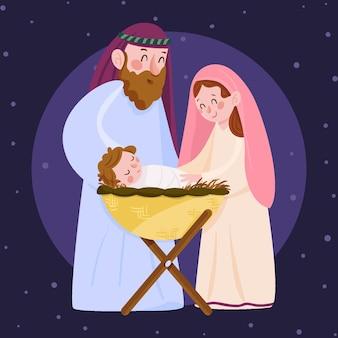 Kerststal in platte ontwerp illustratie
