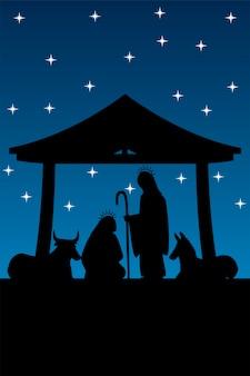 Kerststal kribbe in silhouet mary joseph ox en ezel nacht ster illustratie Premium Vector