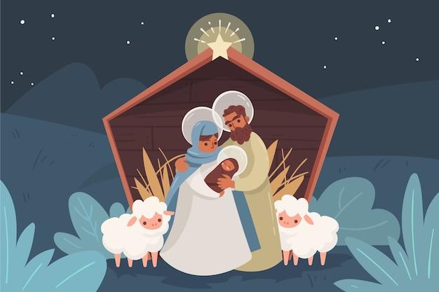 Kerststal met dieren en familie buitenshuis