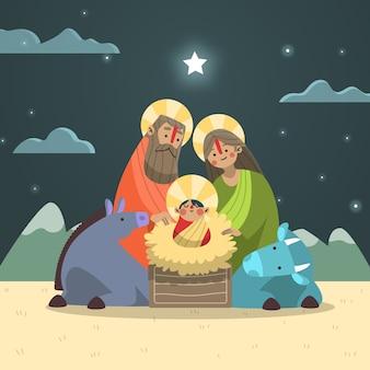 Kerststal met kind en dieren in de nacht