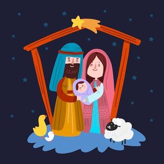 Kerststal met vallende sterren en dieren