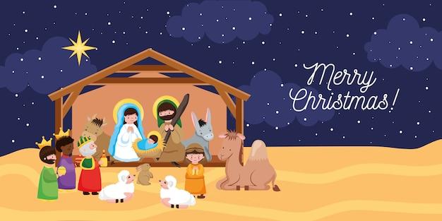 Kerststal met wijze mannen en dieren