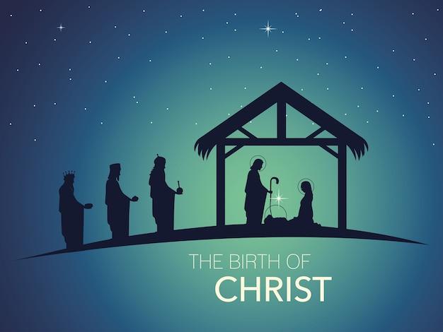 Kerststal van kindje jezus in de kribbe met maria en jozef in silhouet met wijze mannen