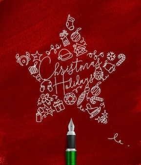 Kerstster met belettering hchristmas olidays tekenen met pen lijn