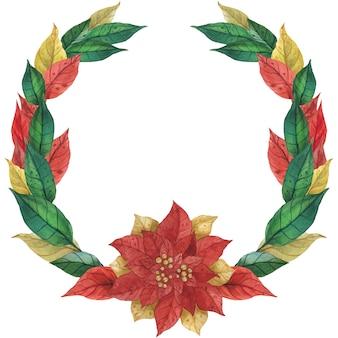 Kerstster poinsettia krans